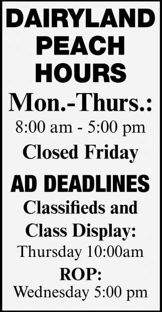 Ad Deadlines