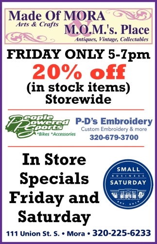 In Store Specials Friday & Saturday