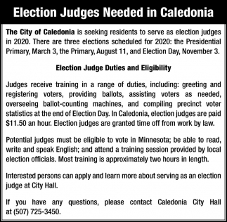 Election Judges Needed in Caledonia