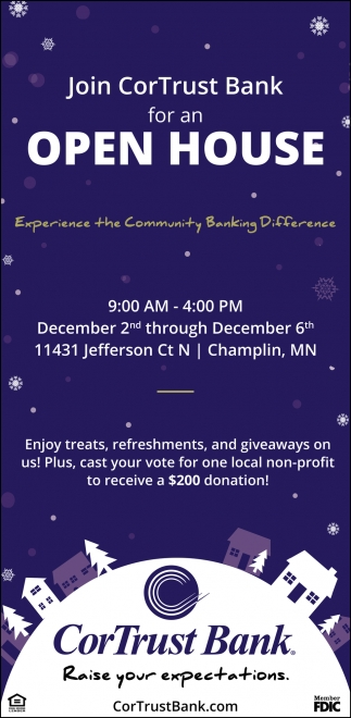 Join CorTrust Bank for an Open House