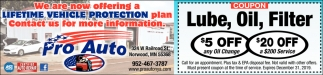 We are Now Offering a Lifetime Vehicle Protection Plan