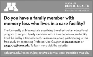 Do You Have a Family Member with Memory Loss who Lives in a Care Facility!
