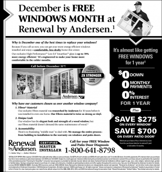 December is FREE WindowsMonth at Renewal by Andersen