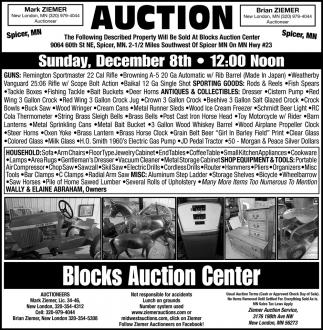 Auction Sunday, December 8th