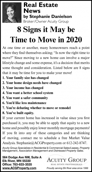 8 Signs it May be Time to Move in 2020