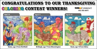 Congratulations to Our Thanksgiving Coloring Contest Winners!