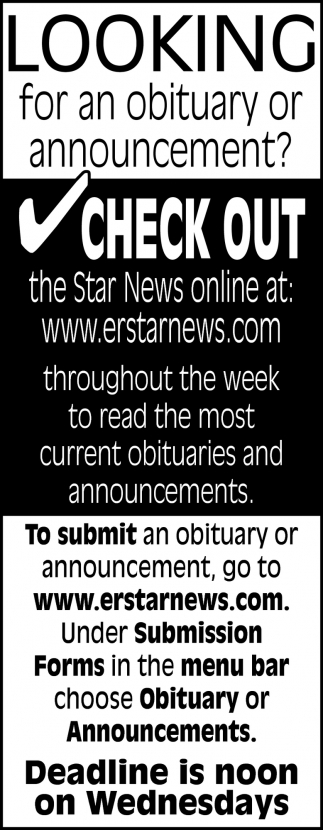 Looking for an Obituary or Announcement?