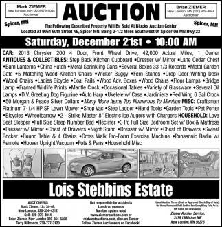 Auction Saturday, December 21st