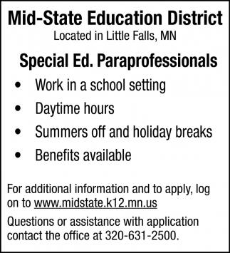 Special Ed. Paraprofessionals