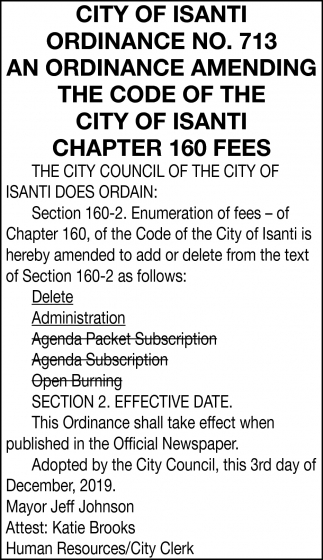 Ordinance No. 713