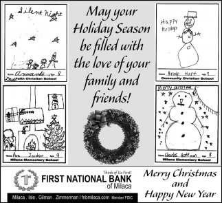 May Your Holiday Season be Filled with the Love of Your Family and Friends!