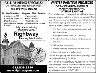 Fall Painting Specials!