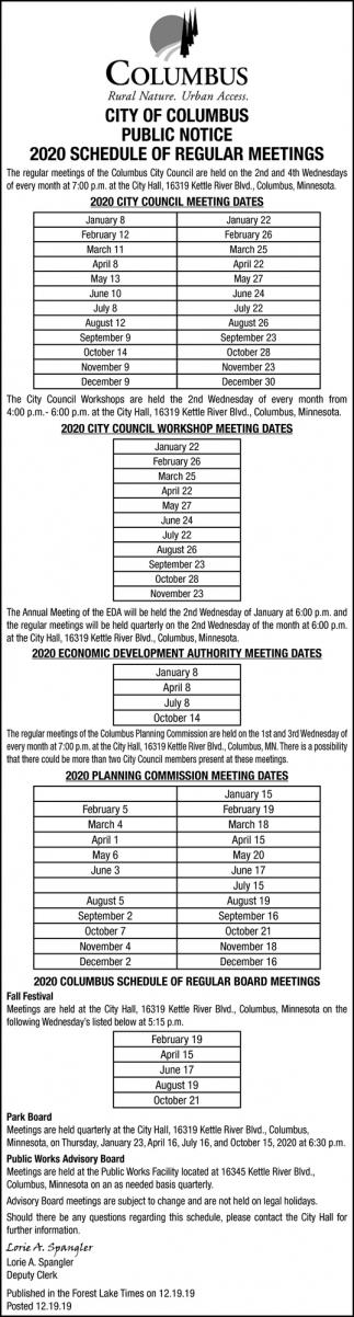 2020 Schedule of Regular Meetings