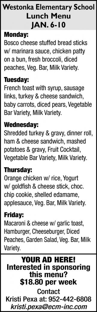 Westonka Elementary School Lunch Menu