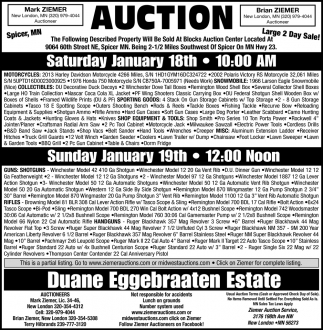 Auction Saturday, January 18th
