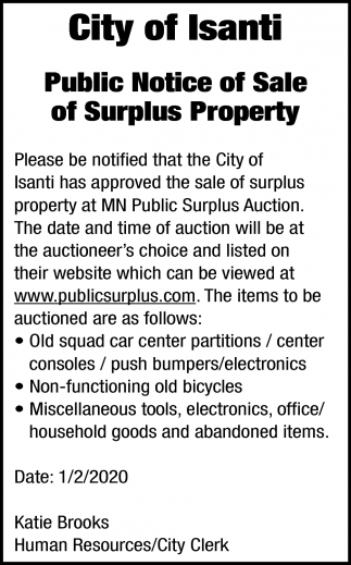 Public Notice of Sale of Surplus Property