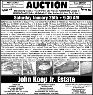 Auction Saturday January 25th