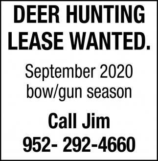 2019 Deer Hunting Lease Wanted