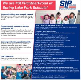 We are #SLPPantherProud at Spring Lake Park Schools!