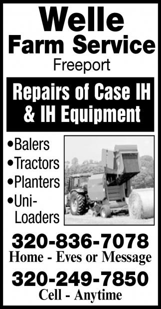 Repairs of Case IH & IH Equipment