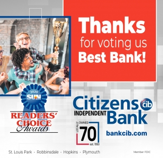 Thanks for Voting Us Best Bank!