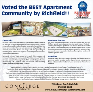Voted the Best Apartment Community by Richfield!