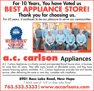 For 10 Years, You Have Voted Us Best Appliance Store!