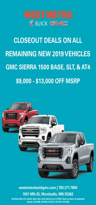 Closeout Deals On All Remaining New 2019 Vehicles
