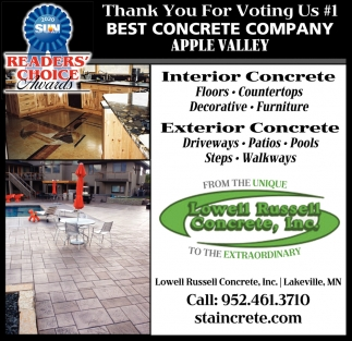 Thank You for Voting Us #1 Best Concrete Company