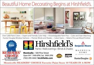 Beautiful Home Decorating Begins at Hirshfield's