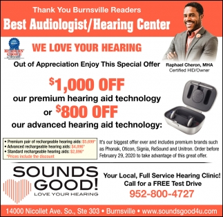 Thank You Burnsville Readers Best Audiologist/ Hearing Center