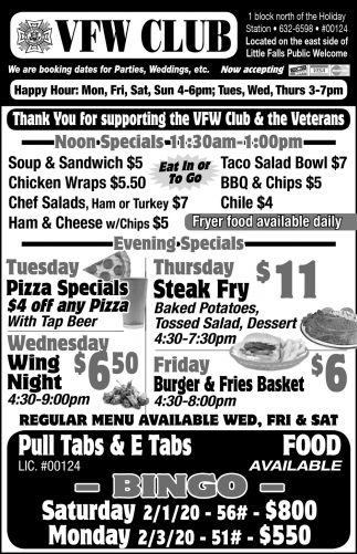 Thank You for Supporting the VFW Club & the Veterans