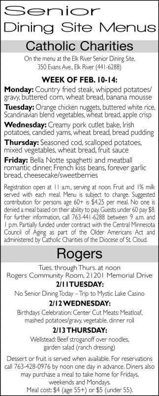 Senior Dining Site Menus