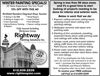 Winter Painting Specials!