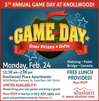 5th Annual Game Day at Knollwood!