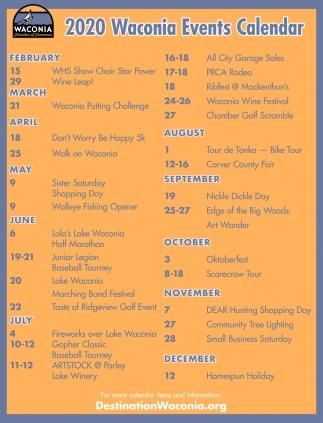 2020 Waconia Events Calendar