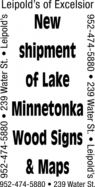 New Shipment of Lake Minnetonka Wood Signs & Maps