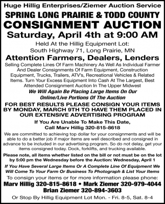 Spring Long Prairie & Todd County Consignment Auction