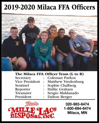 2019-2020 Milaca FFA Officers