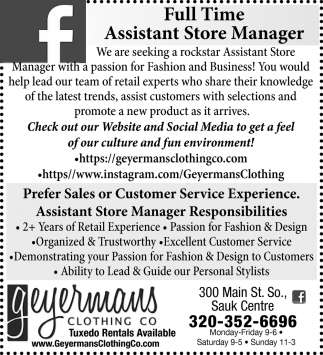 Full time Assistant Store Manager