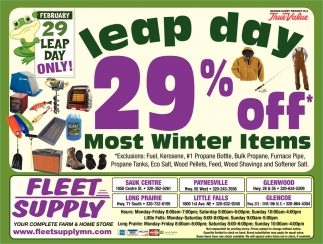 Leap Day 29% OFF Most Winter Items