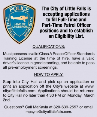 Full Time and Part Time PAtrol Officer Positions