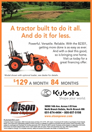 A Tractor Built to Do it All. And Do it for Less