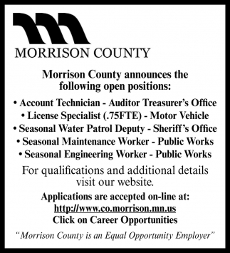 Morrison County Announces the Following Open Positions