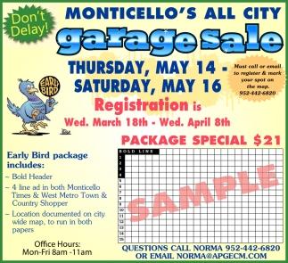 Monticello's All City Garage Sale