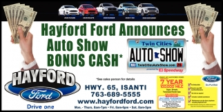 Hayford Ford Announces Auto Show Bonus Cash