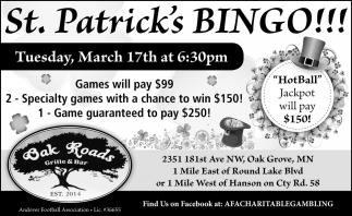 St. Patrick's Bingo!