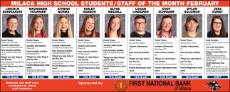 Milaca High School Students/ Staff of the Month February