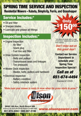 Spring Time Service and Inspection
