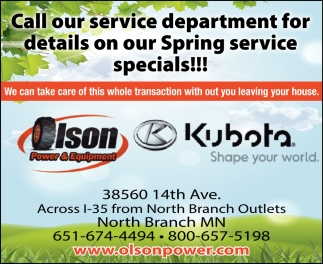 Call Our Service Department for Details on Our Spring Service Specials!